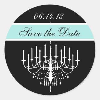 Aqua Black/White Chandelier Save the Date Stickers