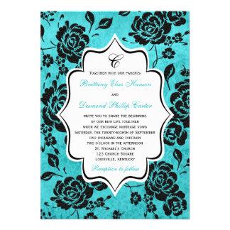 Aqua Black White Floral Damask Wedding Invitation