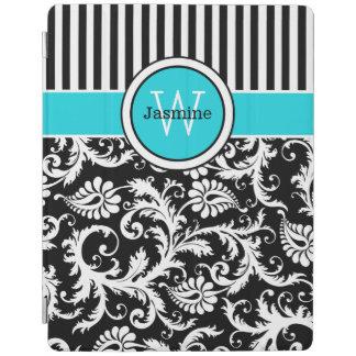 Aqua Black White Stripes, Damask iPad 2/3/4 Cover iPad Cover