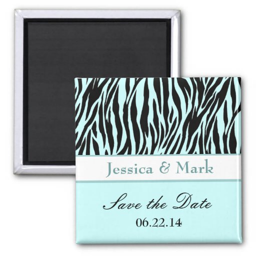 Aqua Black Zebra Save the Date Wedding Magnet