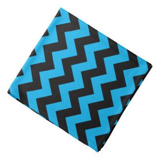 Aqua Black Zigzag Pattern Bandana