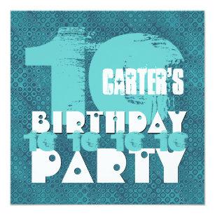 AQUA BLUE 10th Birthday Party 10 Year Old V02A9 Invitation