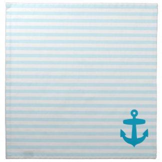 Aqua Blue Anchor and baby blue Sailor Stripes Napkin