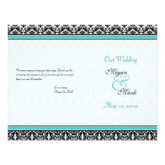 Aqua Blue and Black Damask Wedding Program 21.5 Cm X 28 Cm Flyer