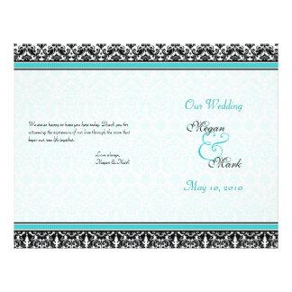 Aqua Blue and Black Damask Wedding Program Flyer