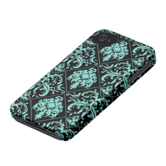 Aqua Blue and Black Damasked Pattern iPhone 4 Cover