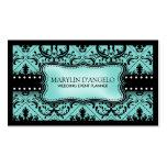 Aqua Blue and Black Vintage Damask Wedding Planner Pack Of Standard Business Cards