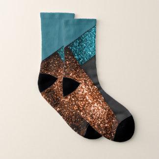 Aqua blue and bronze sparkles modern color block 1