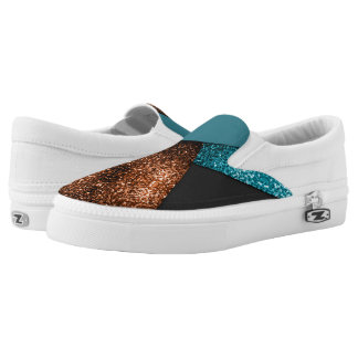 Aqua blue and bronze sparkles modern color block printed shoes