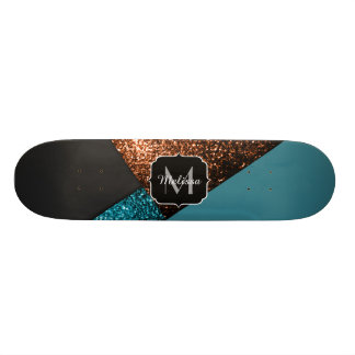 Aqua blue and bronze sparkles modern Monogram Skate Board