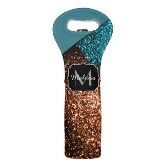 Aqua blue and bronze sparkles modern Monogram Wine Bag