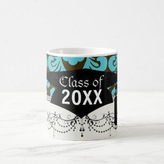 aqua blue and brown ornate damask graduation mugs