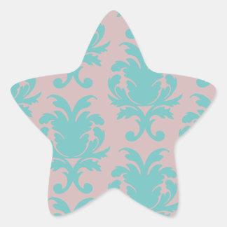 aqua blue and dark carnation pink damask design star sticker
