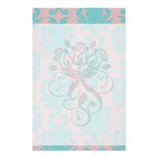 aqua blue and dark carnation pink damask design stationery paper