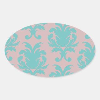 aqua blue and dark carnation pink damask design oval sticker