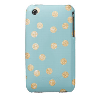Aqua Blue and Gold City Dots iPhone 3 Covers