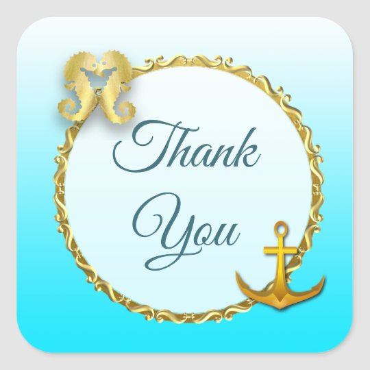 Aqua Blue and Gold Nautical Thank You Stickers