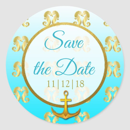 Aqua Blue and Gold Seahorse Save the Date Stickers