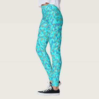 Aqua Blue and Green Camouflage Leggings