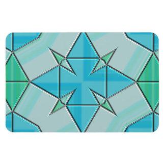 Aqua Blue and Green Geometric Tiled Pattern Flexible Magnet