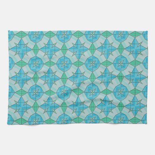 Aqua Blue and Green Geometric Tiled Pattern Tea