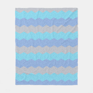 Aqua, blue and grey chevron fleece blanket