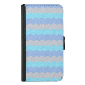 Aqua, blue and grey chevron samsung galaxy s5 wallet case
