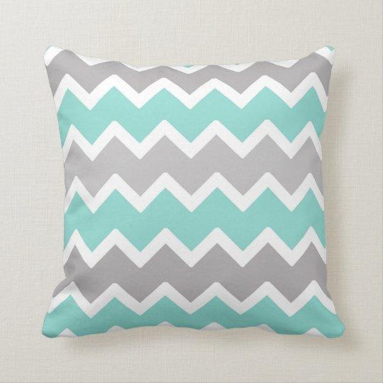 Aqua Blue and Grey Grey Chevron Throw Pillow