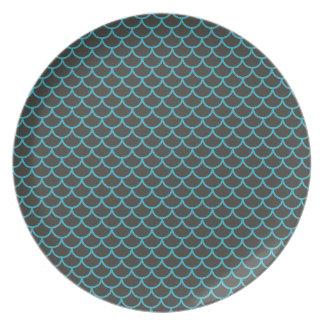 Aqua Blue and Grey Mermaid Pattern Plate