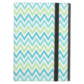 Aqua, blue and lime green chevron zigzag pattern iPad air cover