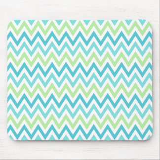 Aqua, blue and lime green chevron zigzag pattern mouse pad