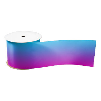 Aqua Blue and Neon Pink Ombre Satin Ribbon