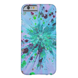 Aqua, blue and pink starburst abstract art barely there iPhone 6 case