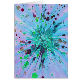 Aqua, blue and pink starburst abstract art design card