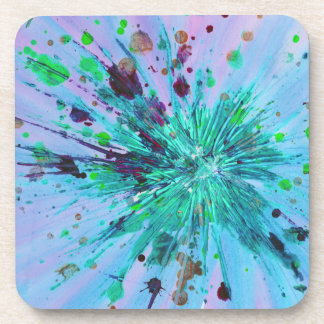 Aqua, blue and pink starburst abstract art drink coasters