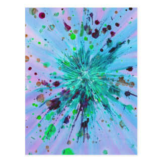 Aqua, blue and pink starburst abstract art postcard