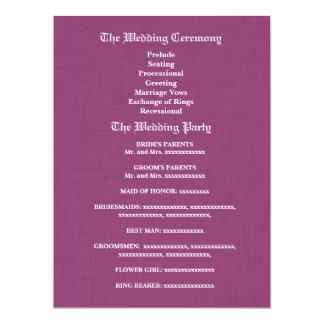 Aqua Blue and Purple Wedding Program 17 Cm X 22 Cm Invitation Card