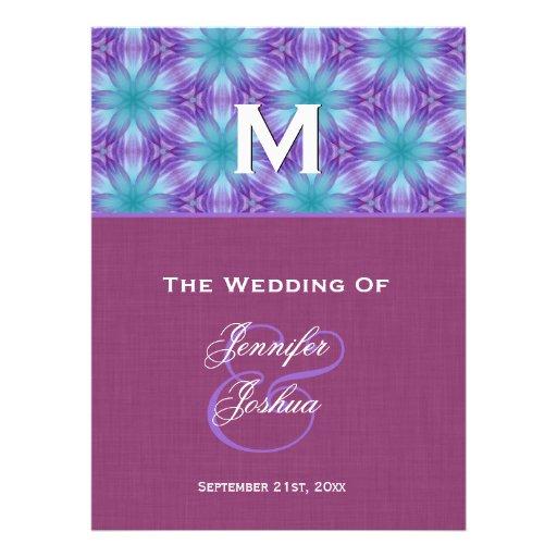 Aqua Blue and Purple Wedding Program Personalized Announcements