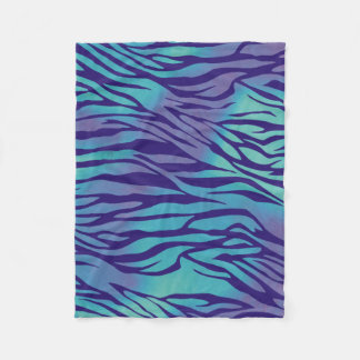 Aqua Blue And Purple Zebra Stripes Fleece Blanket