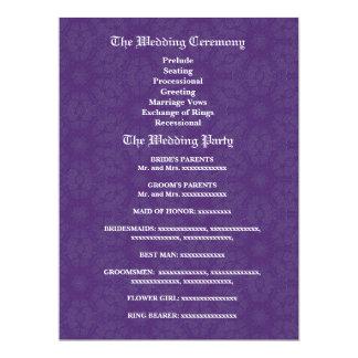Aqua Blue and Royal Purple Wedding Program 17 Cm X 22 Cm Invitation Card