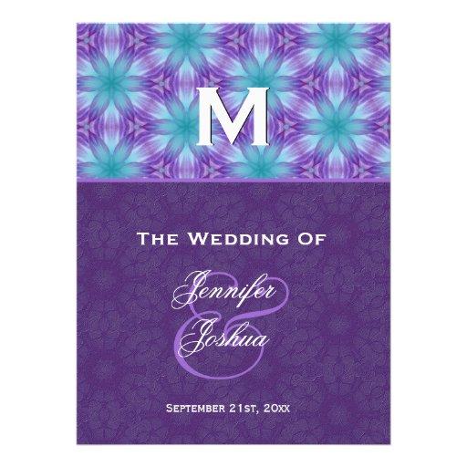 Aqua Blue and Royal Purple Wedding Program Personalized Announcements