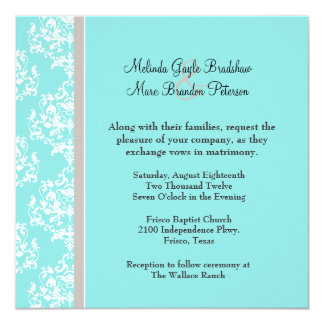 Aqua Blue and Taupe Damask Wedding Invitation