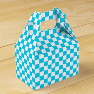 Aqua Blue and White Checkered Pattern Party Box