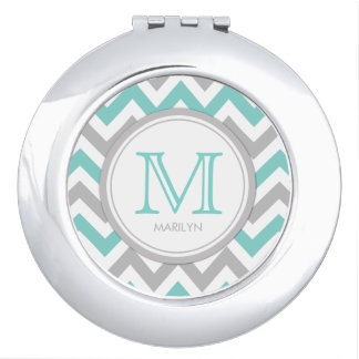 Aqua Blue and White Chevron with Monogram Mirror For Makeup