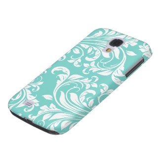 Aqua Blue and White Damask Pattern Galaxy S4 Case