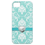 Aqua Blue and White Damask Pattern with Monogram
