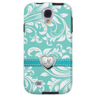 Aqua Blue and White Damask Pattern with Monogram Galaxy S4 Case