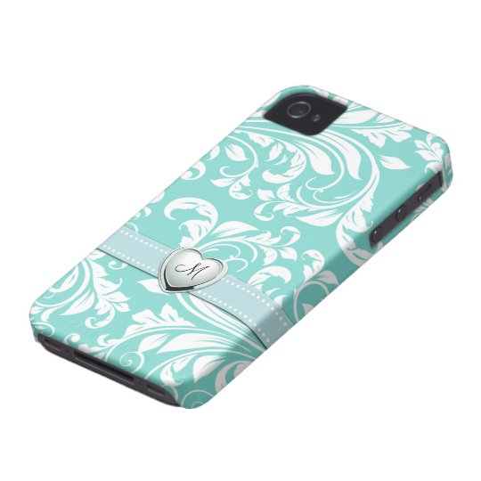 Aqua Blue and White Damask Pattern with Monogram iPhone 4 Cover