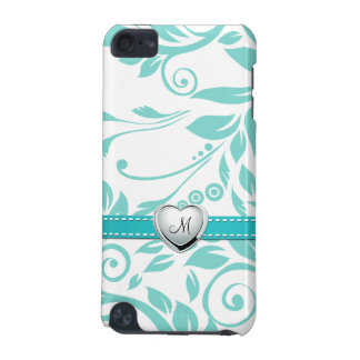Aqua Blue and White Damask Pattern with Monogram iPod Touch (5th Generation) Covers