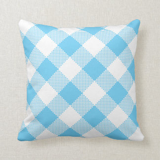 Aqua Blue and White Gingham on a Pillow